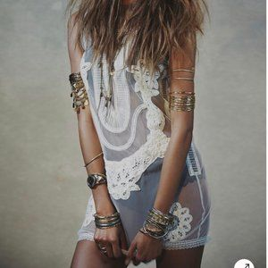 Free People by Candela Elle Embroidered Mini Dress